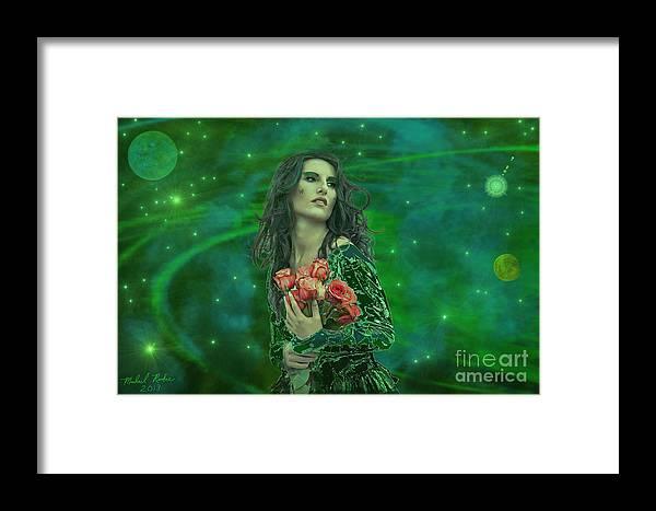 Woman Framed Print featuring the digital art Emerald Universe by Michael Rucker