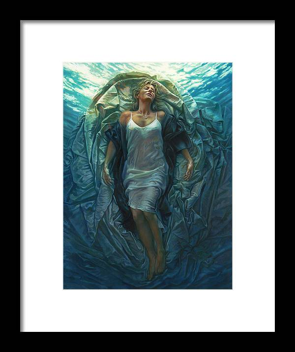 Conceptual Framed Print featuring the painting Emerge Painting by Mia Tavonatti