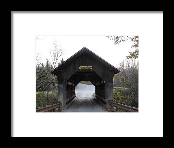 Covered Bridge Framed Print featuring the photograph Emily's Bridge Stowe Vermont by Barbara McDevitt