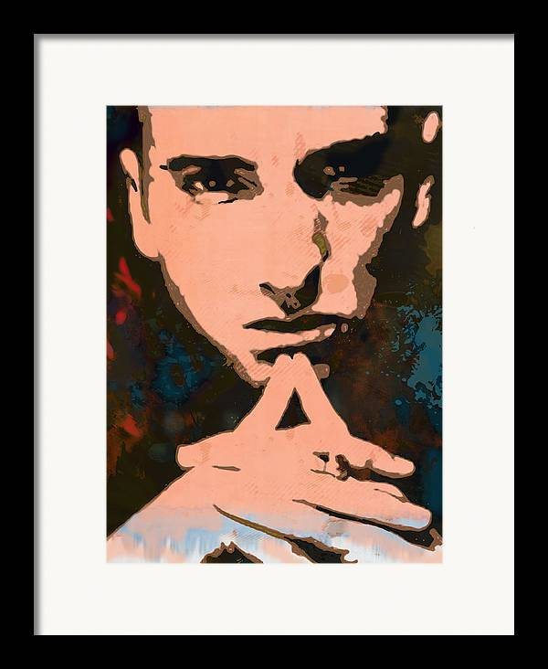 Art Drawing Sharcoal.ketch Portrait Framed Print featuring the drawing Eminem - Stylised Pop Art Poster by Kim Wang