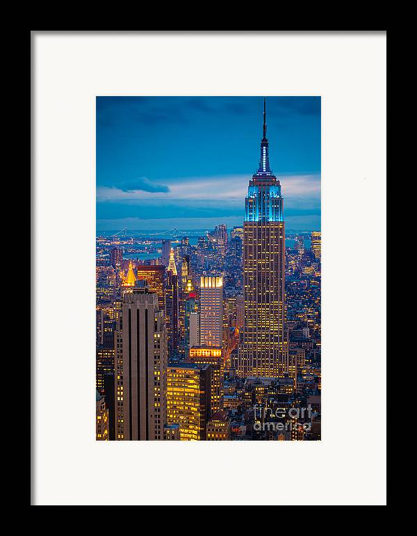 America Framed Print featuring the photograph Empire State Blue Night by Inge Johnsson