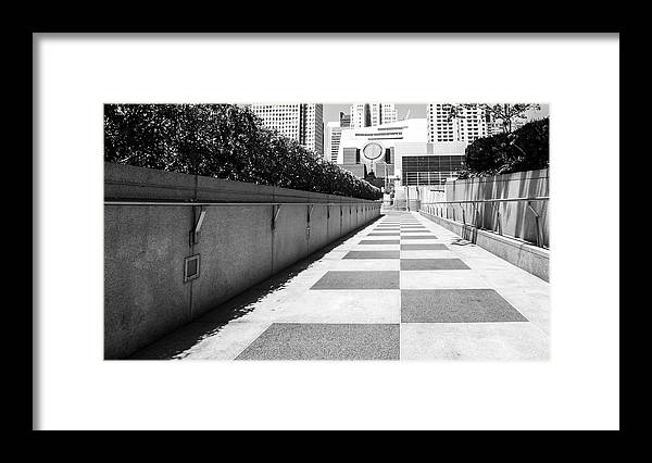 Built Structure Framed Print featuring the photograph Empty Footpath Leading Towards Buildings On Sunny Day by Jesse Coleman / EyeEm
