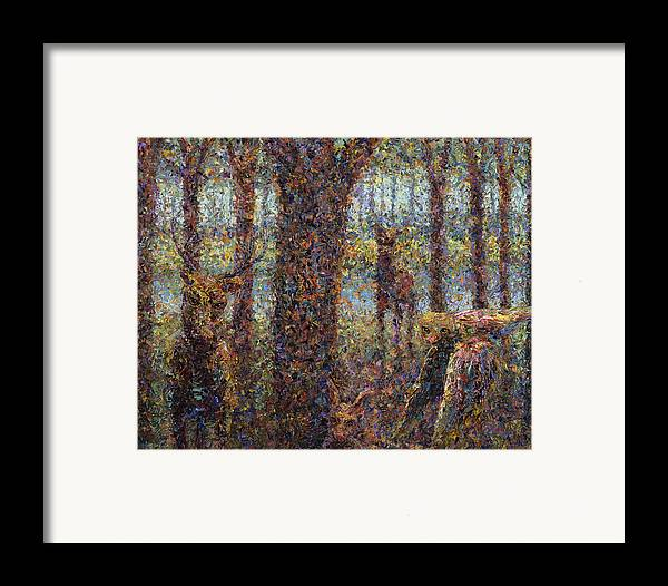 Animals Framed Print featuring the painting Encounter by James W Johnson