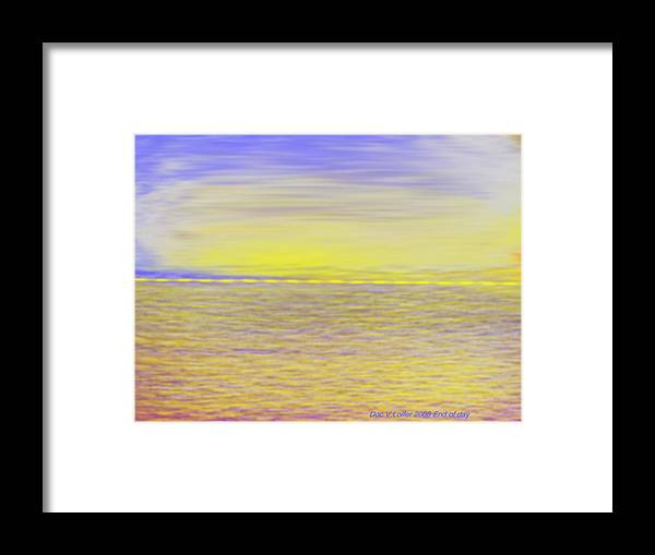 Sky.clouds.sun Reflection On Clouds.colr Clouds.sunset.sun.yellow.sea.waves.sun Reflection On Water. Framed Print featuring the digital art End Of Day by Dr Loifer Vladimir