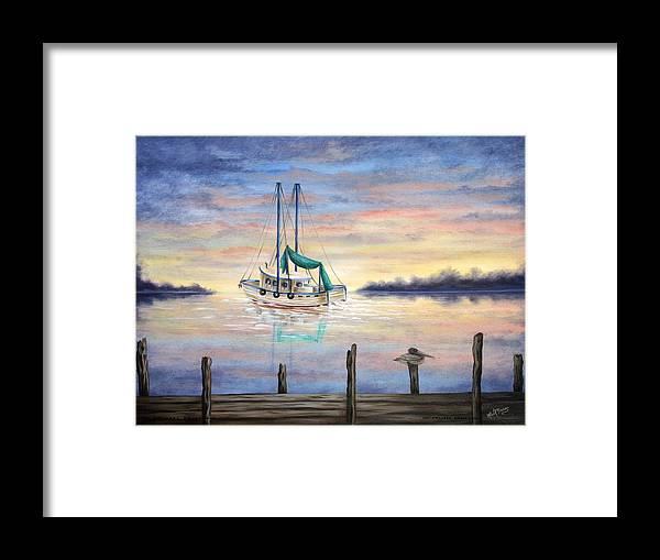 Seascape Framed Print featuring the painting End Of The Day by Ruth Bares