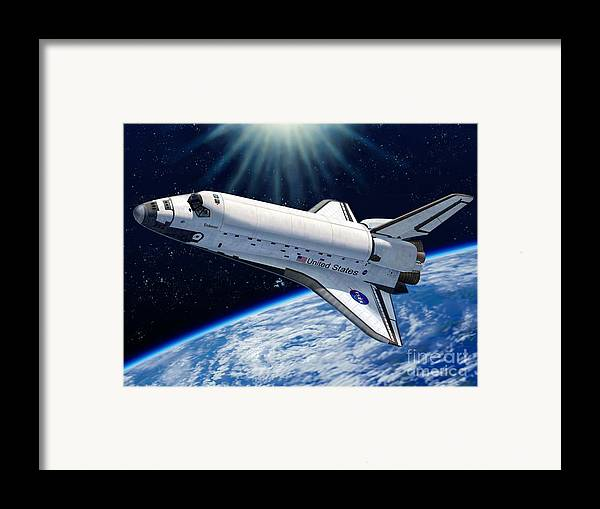 Space Framed Print featuring the digital art Endeavour In Space by Stu Shepherd