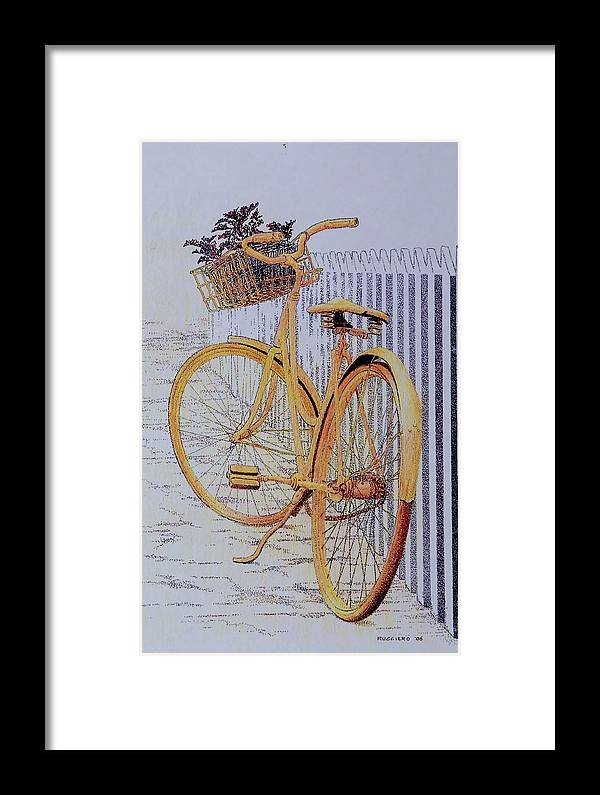Bicycle Yellow Summer Flowers Plants Framed Print featuring the painting Endless Summer by Tony Ruggiero