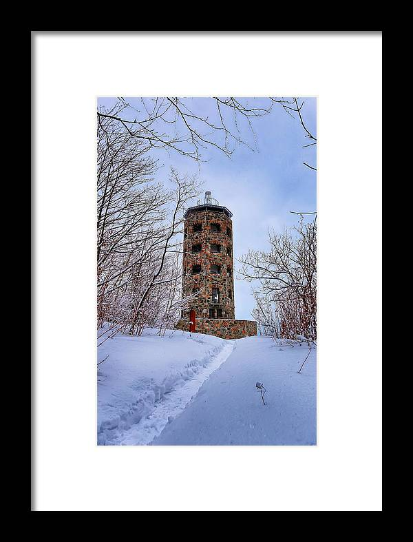 Winter Framed Print featuring the photograph Enger Tower In Winter by Bryan Benson