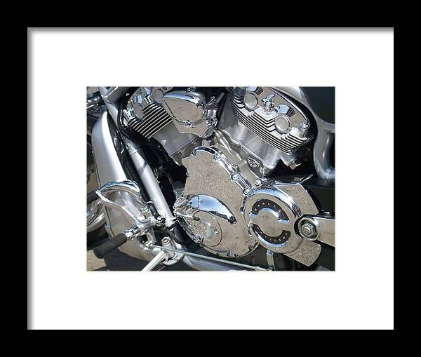 Motorcycles Framed Print featuring the photograph Engine Close-up 3 by Anita Burgermeister