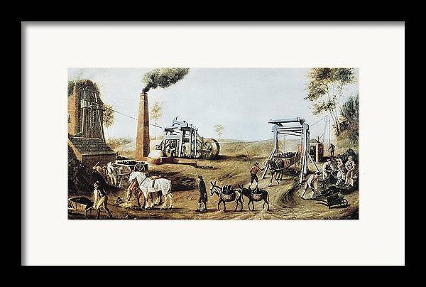 Scene Framed Print featuring the photograph England 18th C.. Industrial Revolution by Everett