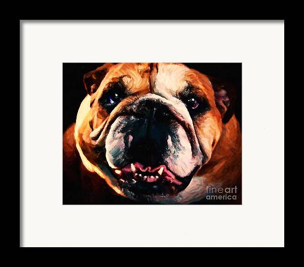 Animal Framed Print featuring the photograph English Bulldog - Painterly by Wingsdomain Art and Photography