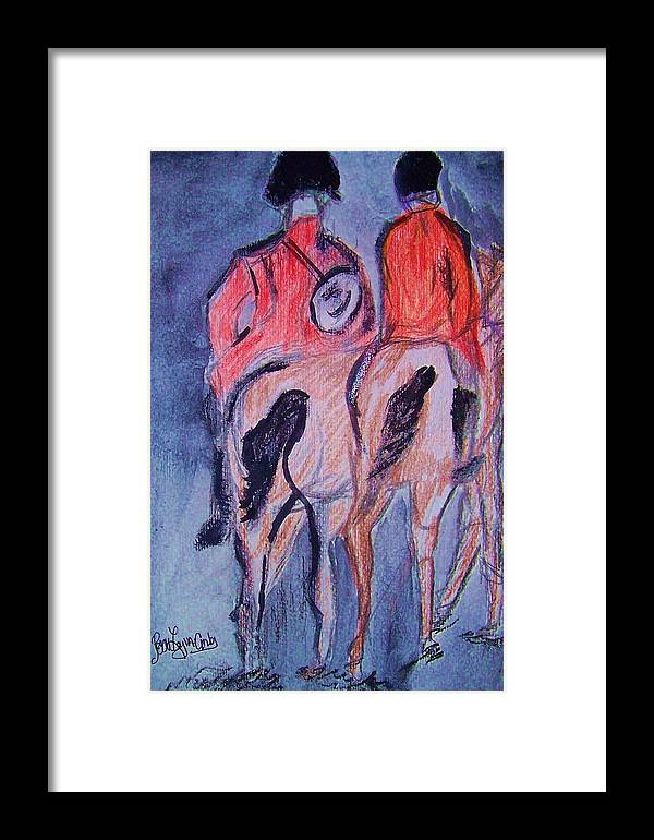 English Horse Riders Framed Print featuring the painting English Equestrain Horse Riders by Peggy Leyva Conley