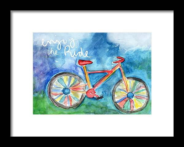 Bike Framed Print featuring the painting Enjoy The Ride- Colorful Bike Painting by Linda Woods