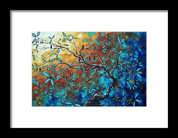 Art Framed Print featuring the painting Enormous Abstract Bird Art Original Painting Where The Heart Is By Madart by Megan Duncanson