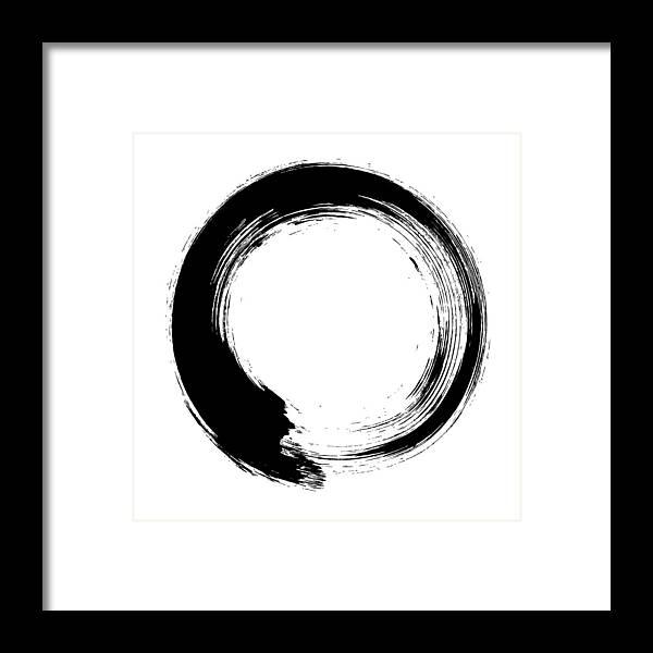 East Framed Print featuring the digital art Enso – Circular Brush Stroke Japanese by Thoth adan