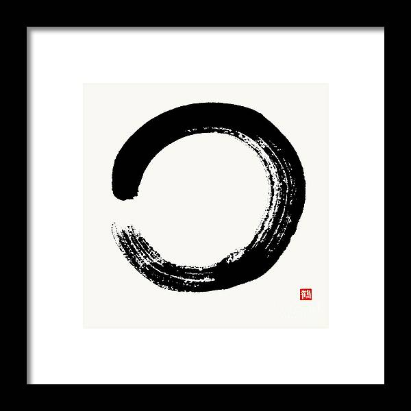 Enso Framed Print featuring the painting Enso Circle Brushed In Black Sumi by Nadja Van Ghelue