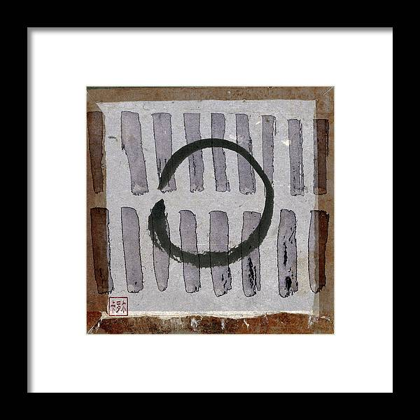 Japan Framed Print featuring the photograph Enso Circle On Japanese Papers by Carol Leigh