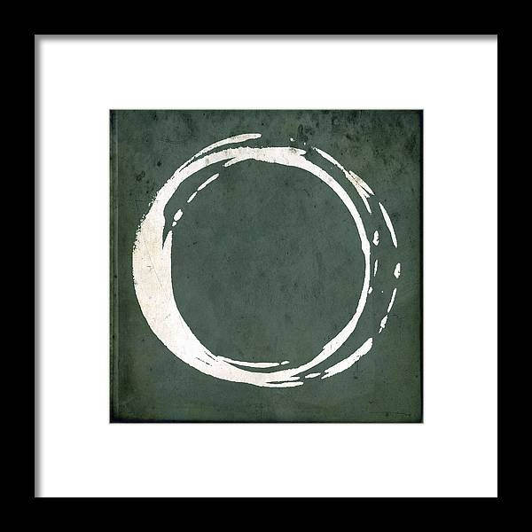 Green Framed Print featuring the painting Enso No. 107 Green by Julie Niemela