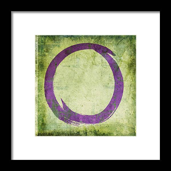 Purple Framed Print featuring the painting Enso No. 108 Purple On Green by Julie Niemela