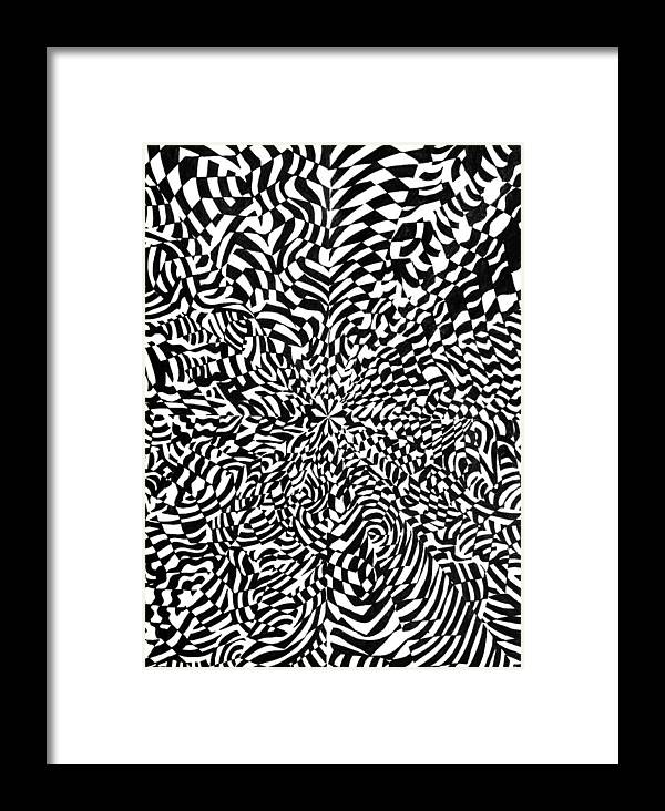 Abstract Framed Print featuring the drawing Entangle by Crystal Hubbard