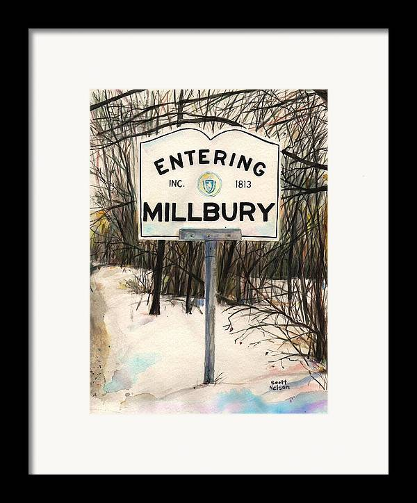 Millbury Framed Print featuring the painting Entering Millbury by Scott Nelson