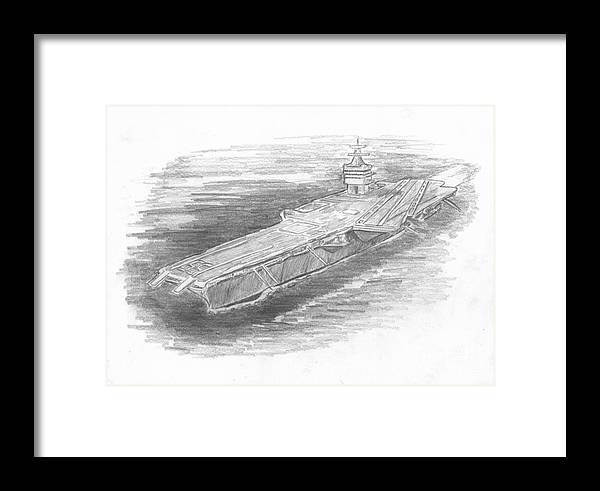 Naval Framed Print featuring the drawing Enterprise Aircraft Carrier by Michael Penny