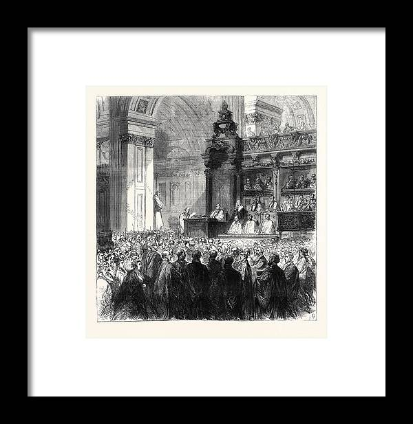 Enthronement Framed Print featuring the drawing Enthronement Of The Bishop Of London In St by English School
