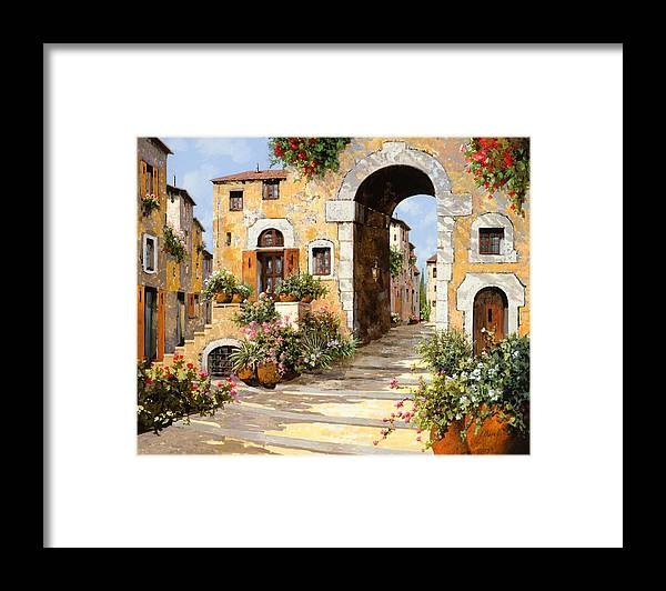 Cityscape Framed Print featuring the painting Entrata Al Borgo by Guido Borelli