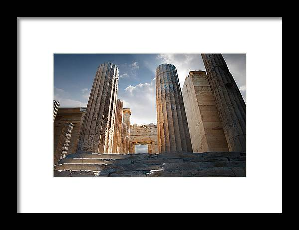 Tranquility Framed Print featuring the photograph Entryway Into The Acropolis by Ed Freeman