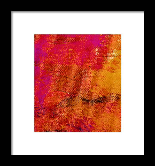 Abstract Framed Print featuring the painting Envision Golden Purple by L J Smith