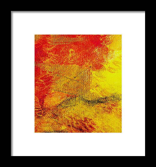 Abstract Framed Print featuring the painting Envision Red Golden by L J Smith