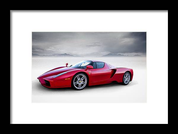 Red Framed Print featuring the digital art Enzo by Douglas Pittman