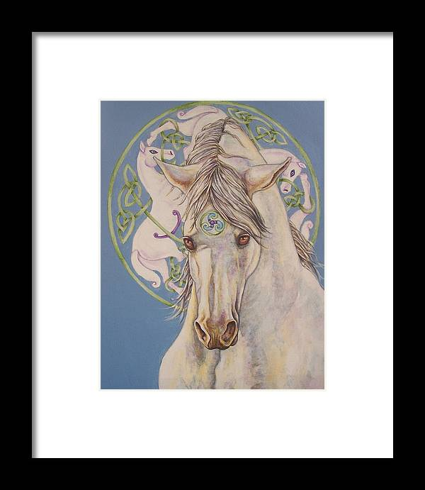 Celtic Framed Print featuring the painting Epona The Great Mare by Beth Clark-McDonal