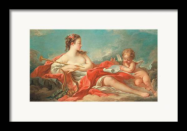 Erato; Female; Muse; Love; Poetry; Rococo; Female; Personification; Poet; Poem; Reading; Cupid; Eros; Putto; Reclining; Clouds; Lyre; Harp; Trumpet; Music; Musical Instrument; Musical Instruments; Inspiration; Nude; Drapery; Pink; Blue; Classical; Myth; Mythology; Mythological Framed Print featuring the painting Erato The Muse Of Love Poetry by Francois Boucher
