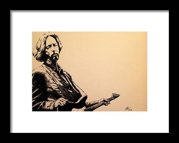 Eric Clapton Framed Print featuring the drawing Eric Clapton by Tim Brandt