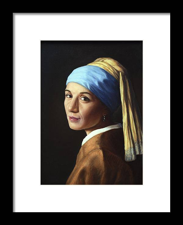 Girl With A Pearl Earring Framed Print featuring the painting Erika With A Pearl Earring by James W Johnson
