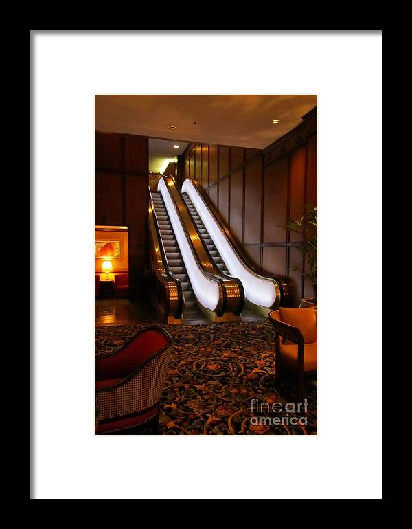 Escalator Art Framed Print featuring the photograph Escalator In The Brown Palace by John Malone
