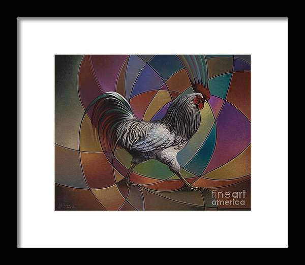 Rooster Framed Print featuring the painting Espolones Or Spurs by Ricardo Chavez-Mendez