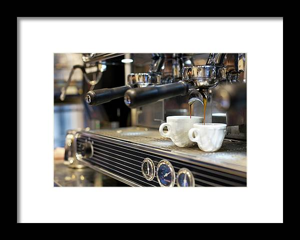 Making Framed Print featuring the photograph Espresso Machine Pouring Coffee Into by Kathrin Ziegler