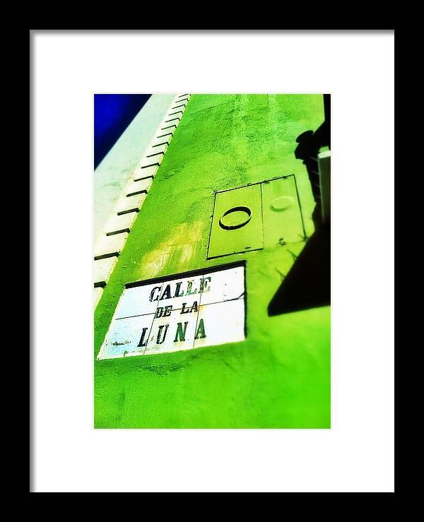 Old San Juan Framed Print featuring the digital art Esquina Con La Luna by Olivier Calas