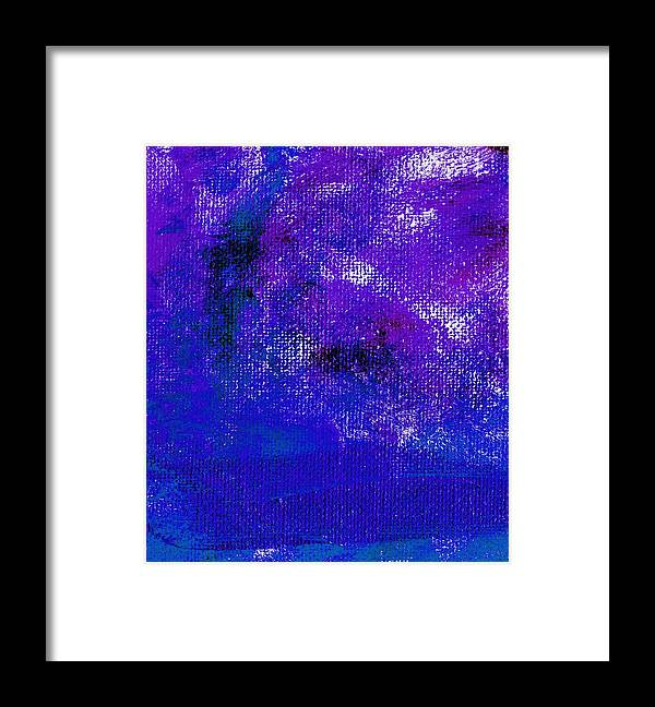 Abstract Framed Print featuring the painting Essay Star Blue Purple by L J Smith