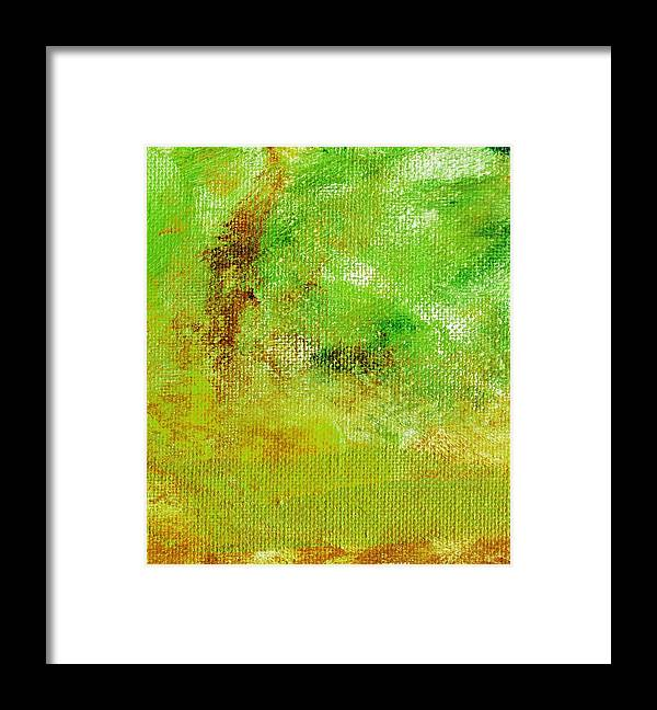 Abstract Framed Print featuring the painting Essay Star Green by L J Smith