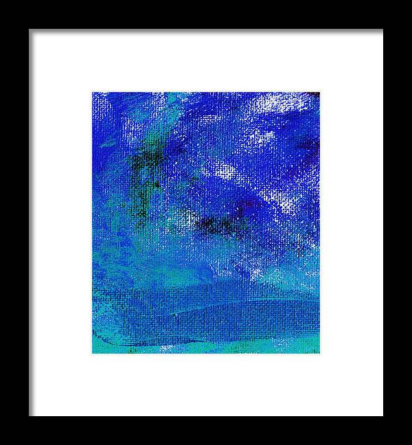 Abstract Framed Print featuring the painting Essay Star Midnight Blue by L J Smith