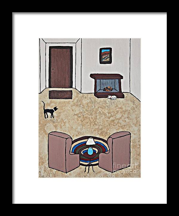 Folk Art Framed Print featuring the painting Essence Of Home - Black And White Cat In Living Room by Sheryl Young