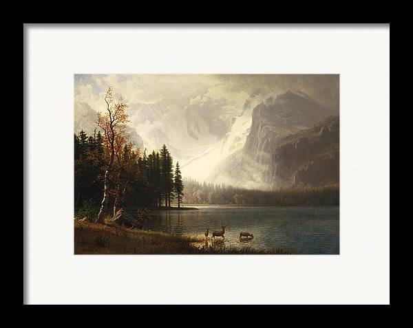 Albert Bierstadt Framed Print featuring the digital art Estes Park Colorado Whytes Lake by Albert Bierstadt