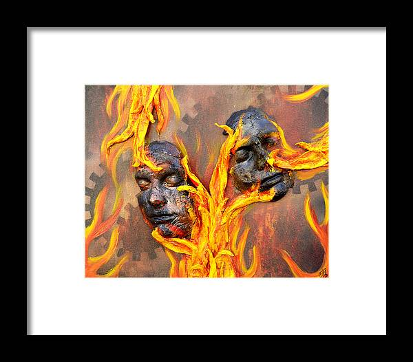 Fire Framed Print featuring the mixed media Eternal Damnation by Meganne Peck