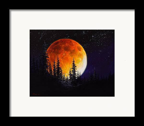 Full Moon Framed Print featuring the painting Ettenmoors Moon by C Steele