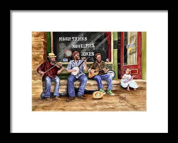 Banjo Framed Print featuring the painting Eureka Springs Novelty Shop String Quartet by Sam Sidders