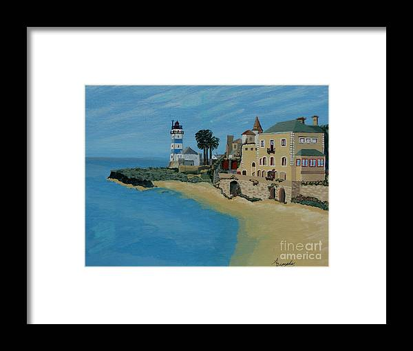 Lighthouse Framed Print featuring the painting European Lighthouse by Anthony Dunphy