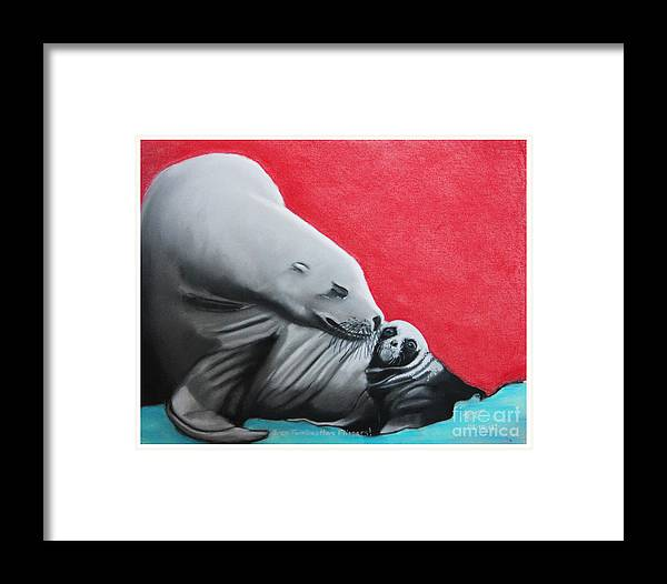 Seals Framed Print featuring the pastel Even Families Have Flippers by Robert Timmons
